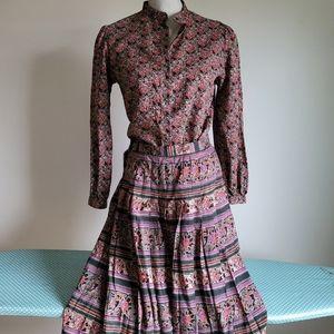 Vtg wool 2pc Jaeger boho floral shirt skirt set